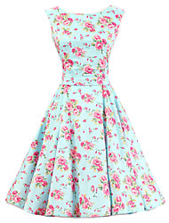 Women's Mint Floral Dress , Vintage Sleeveless 50s Rockabilly Swing Short Cocktail Dress