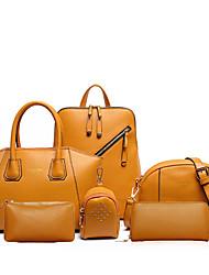 お買い得  -女性用 バッグ PU トート / ショルダーバッグ / バックパック 4個の財布セット イエロー / ブルー / ピンク / バッグセット