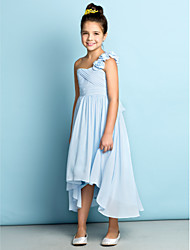 cheap -A-Line One Shoulder Asymmetrical Chiffon Junior Bridesmaid Dress with Flower Criss Cross by LAN TING BRIDE®