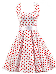 cheap -Women's Vintage A Line Dress - Polka Dot, Bow Halter