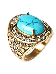 cheap -New Vintage Women's Turquoise Oval-shaped Geometric Rhinestone Ring