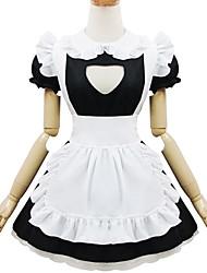 One-Piece/Dress Maid Suits Classic/Traditional Lolita Lolita Cosplay Lolita Dress Black White Patchwork Short Sleeve Short Length Dress