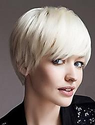 Недорогие -популярная шапки короткий прямой человек девственный Реми руки связали верхнюю женскую шапки парик волос