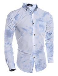 cheap -Men's Chinoiserie Cotton Shirt - Color Block, Print
