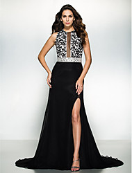 cheap -A-Line Jewel Neck Court Train Chiffon Lace Formal Evening Black Tie Gala Dress with Beading Lace by TS Couture®