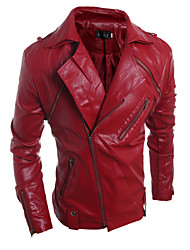 cheap -Men's Fashion Personality Detachable Large Lapel Slim Fit Leather Jacket