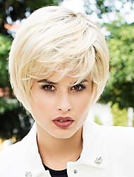 baratos -Hnad amarrado tendência mais recente topo remy virgem humana curto capless perucas reta