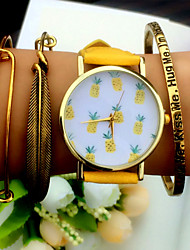 cheap -Tropical Fruit Pineapple Watch Vintage Style Leather Bracelet Women Strap Watches Cool Watches Unique Watches Fashion Watch