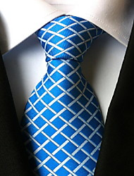 Men Wedding Cocktail Necktie At Work Blue White Cross Tie