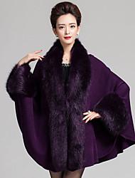 cheap -Vintage Long Cloak / Capes,Solid Blue Red Beige Black Purple V Neck Sleeveless Winter Medium Micro-elastic