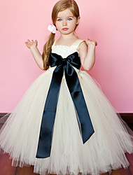 cheap -Ball Gown Ankle Length Flower Girl Dress - Polyester / Tulle Sleeveless Spaghetti Strap with by