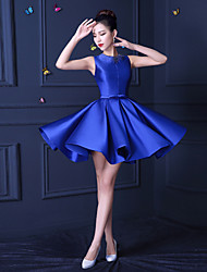A-Line Jewel Neck Short / Mini Satin Bridesmaid Dress with Beading by Xiangyouyayi