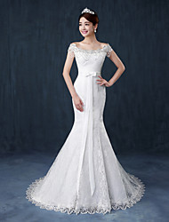 Mermaid / Trumpet Off-the-shoulder Court Train Lace Wedding Dress with Bow(s) Sash / Ribbon Ruffle by QQC Bridal