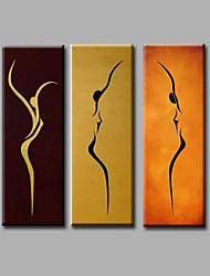 Ready to Hang Hand-Painted Oil Painting on Canvas Wall Art Modern Dance Girls Home Deco Abstract Three Panels