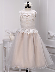 cheap -A-Line Ankle Length Flower Girl Dress - Lace / Organza Sleeveless Jewel Neck with Lace by LAN TING Express