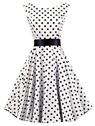 cheap -Women's Vintage Cotton A Line Dress - Polka Dot White, Pleated