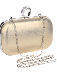 お買い得  -女性用 バッグ ポリエステル / メタル / PU イブニングバッグ クリスタル / ラインストーン のために 結婚式 / イベント/パーティー / フォーマル ゴールド / ブラック / シルバー