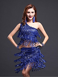cheap -Shall We Latin Dance Outfits Women's Performance Sequined Tassel(s) 2 Pieces Sleeveless Natural Top Skirt