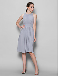 A-Line Scoop Neck Knee Length Georgette Bridesmaid Dress with Draping Ruching by LAN TING BRIDE®