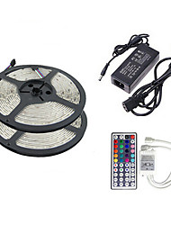 cheap -ZDM® 2x5M 10m Light Sets 2*150 LEDs 1 12V 6A Adapter 1 44Keys Remote Controller 1 AC Cable RGB Cuttable Self-adhesive Decorative 110-120V