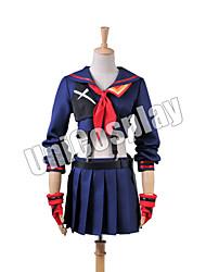 Inspireret af Cosplay Cosplay Anime Cosplay Kostumer Cosplay Kostumer Patchwork Top Nederdel Handsker Sløjfe Mere Tilbehør Til Kvindelig