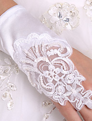 White Fingerless Lace Glove Wrist Length Satin Wedding Bridal Gloves  Wedding Events Accessories  With DIY Pearls and Rhinestones