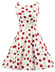 cheap -Women's Going out Vintage Cotton A Line Skater Dress Print Cherry