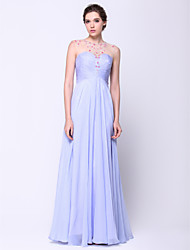 A-Line Scoop Neck Floor Length Chiffon Tulle Prom Formal Evening Dress with Beading by TS Couture®