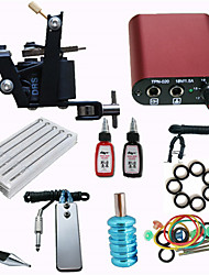 Tattoo Machine  Kit Mini Power Supply 10 Needles 2 Color Inks Set For Beginner