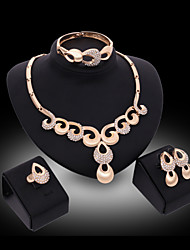 Lucky Doll Women's Luxury Gem 18K Gold Plated Zirconia Geometric Necklace & Earrings & Bracelet & Ring Jewelry Sets
