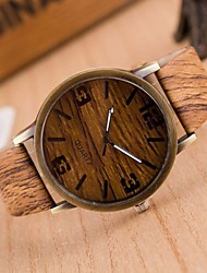 cheap -Men's Fashion Watch / Wood Watch Japanese Casual Watch PU Band Charm Brown / Grey / Two Years