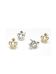 Stangøreringe Legering Imitation Diamond Kroneformet Sølv Gylden Smykker Fest Daglig Afslappet 2 Stk.