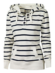 Women's Casual/Daily Simple Hoodie Striped Inelastic Cotton Long Sleeve Spring