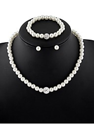 cheap -Women's Pearl Jewelry Set - Pearl Elegant, Bridal, Festival / Holiday Include Stud Earrings / Strand Bracelet / Pearl Necklace White For Wedding / Party / Gift / Bracelets & Bangles