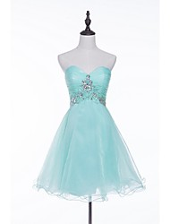 cheap -A-Line / Fit & Flare Sweetheart Neckline Short / Mini Tulle Lace Up Cocktail Party Dress with Beading / Sequin / Crystals by