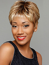 cheap -Fashionable Woman's Light Gold Straight Short Synthetic Mix Wig