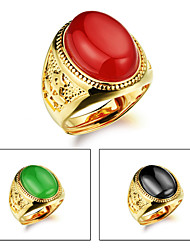 cheap -Men's Gold Plated Band Ring - Fashion Black / Red / Green Ring For Wedding / Party / Daily