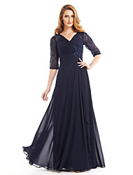 cheap -A-Line V Neck Floor Length Chiffon Mother of the Bride Dress with Beading Criss Cross by LAN TING BRIDE®