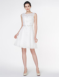 cheap -A-Line Scoop Neck Knee Length Lace Made-To-Measure Wedding Dresses with Appliques / Lace by LAN TING BRIDE® / Little White Dress