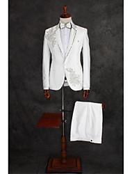 お買い得  -クリスタル 仕様 スタンダードフィット コットン / ポリエステル スーツ - ノッチドラペル シングルブレスト 一つボタン