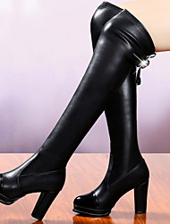 "cheap -Women's Shoes Synthetic Winter Fall Chunky Heel 16""-18""(Approx.40.64cm-45.72cm) Knee High Boots for Casual Party & Evening Black"