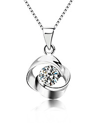 cheap -Women's Fashion Pendant Necklace Silver Sterling Silver Crystal Pendant Necklace , Party Daily Casual