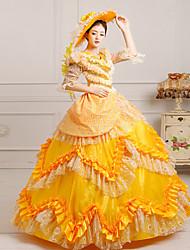 billige -Victoriansk Middelalderkostumer Kostume Dame Kjoler Festkostume Maskerade Vintage Cosplay Blonde Silke Organza Lang Længde Balkjole / Satin