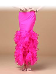 abordables -Danse du ventre Bas Femme Entraînement / Utilisation Polyester / Mousseline de soie Ruché Taille basse Femmes du Monde Sexy Jupe