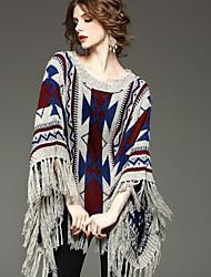 preiswerte -Damen Standard Mantel / Capes Retro Patchwork Grau Rundhalsausschnitt Langarm Baumwolle Acryl Winter Dick Unelastisch