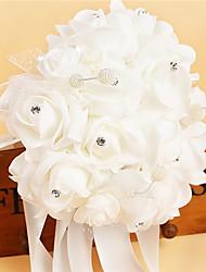 cheap -Satin Foam Rose Flower Wedding Bouquet with Rhinestone Pearl (37*25*25cm)