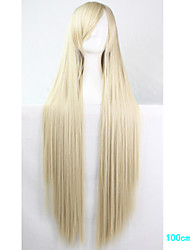 Anime Cosplay Wigs Light Blonde 100 CM Long Straight Hair High Temperature Wire