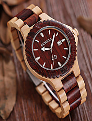 cheap -Men's Wrist watch Wood Watch Chronograph Quartz Japanese Quartz Wood Band Vintage Charm Brown Multi-Colored