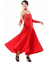Ballroom Dance Outfits Women's Performance Viscose Crystals/Rhinestones 4 Pieces Dress Gloves Neckwear
