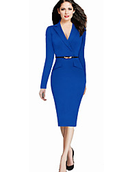 cheap -Women's Work Casual Bodycon Knee-length Dress,Solid V Neck Long Sleeves